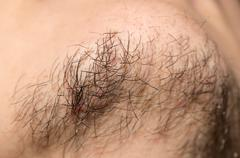 Seven Day Old Beard. Seven day old beard on a Caucasian male. Macro close up. Stock Photos