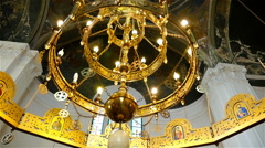 Interior of orthodox church with chandelier Stock Footage