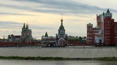 Movement of clouds on the river Small Kokshaga in Yoshkar-Ola, Mari El, Russia,  Stock Footage
