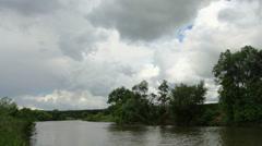 Movement of clouds on the river Myosha. Kulaevo village, Republic of Tatarstan,  Stock Footage