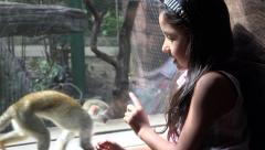 Posing With Monkey - stock footage
