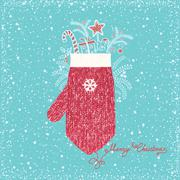Christmas greeting card with knetted mitten.Vector snow background Stock Illustration