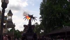 Maleficient Dragon breathing fire - stock footage