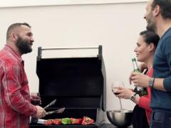 Happy group of friends talking, drinking alcohol during grill partyat terra NTSC Stock Footage