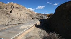 Vasquez canyon landslide and road damage ground view Stock Footage