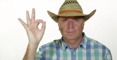 Confident Farmer Man Serious Approve Hand Sign Ok Gesture Good Job Agree Symbol Stock Footage