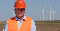 Engineer Technical Person Maintenance Team Worker Wind Turbines Farm Power Plant Stock Footage