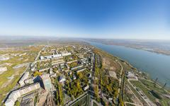 Aerial water power plant view with crossroads and roads, civil  buildings - stock photo
