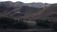 Vasquez canyon landslide ground view of surrounding terrain Stock Footage