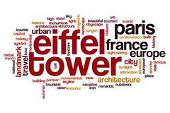 Eiffel tower word cloud concept Stock Illustration