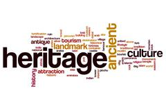 Heritage word cloud concept - stock illustration