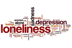 Loneliness word cloud concept - stock illustration