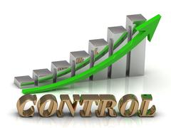 Stock Illustration of CONTROL- inscription of gold letters and Graphic growth and gold arrows on wh
