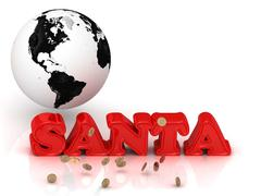 SANTA - bright color letters, black and white Earth on a white background - stock illustration