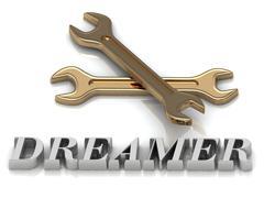 DREAMER- inscription of metal letters and 2 keys on white background - stock illustration