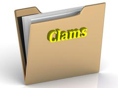 Clams- bright color letters on a gold folder on a white background - stock illustration