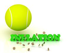 INFLATION- bright green letters, tennis ball, gold money on white background Stock Illustration