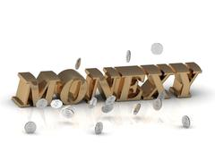 MONEXY - inscription of gold letters on white background - stock illustration