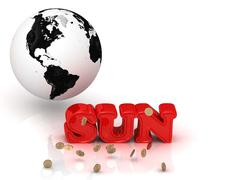 SUN - bright color letters, black and white Earth on a white background Stock Illustration