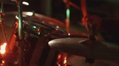 Rock concert Drummer beats cymbal drum set Close up Stock Footage