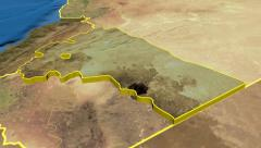 Rif Dimashq - Syria region extruded. Satellite - stock footage
