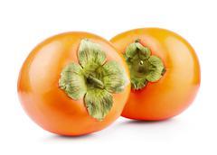 Persimmon fruit isolated - stock photo
