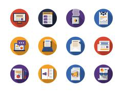 Round flat color web articles vector icons set Stock Illustration