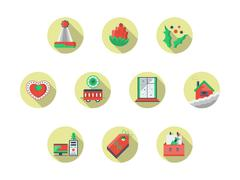 Christmas theme round flat color vector icons set Stock Illustration