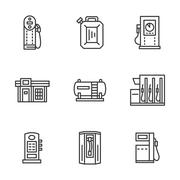 Gas station black line vector icons collection - stock illustration
