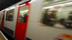 London Underground Train Passes Stock Footage