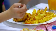 French fries and steak potato plate with person eats in restaurant cafe Stock Footage