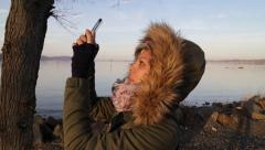Woman Takes Photo With Smartphone in Nature Stock Video Stock Footage