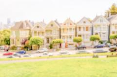 Defocused background of Painted Ladies in Alamo Square, San Francisco, USA Stock Photos