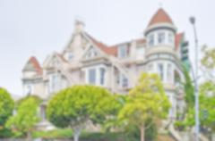 Defocused background of Victorian Houses in San Francisco, USA Stock Photos