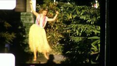 Blonde Teen Girl Hawaiian Hula Dance 1950s Vintage Film Home Movie 8654 Stock Footage