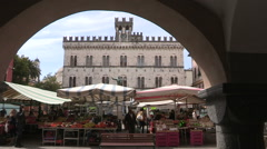 View of the market square in Chiavari Stock Footage