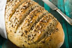 Rustic homemade artisan dough crusty bread Stock Photos