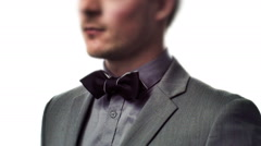 Well-Dressed Young Man with a Classic Bow Tie - stock footage