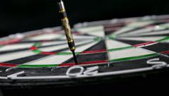 Close up of dart hitting double twenty on a dart board, for checkout Stock Footage