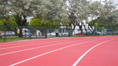 Running track with lanes. Stock Footage