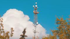 The tower with antennas of mobile phone communication, television, Internet Stock Footage