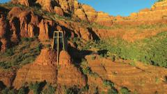 Aerial View of Sedona's Red Rock and Chapel of The Holy Cross Stock Footage
