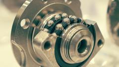 The internal structure of the bearing. Removed part of the outer ring Stock Footage