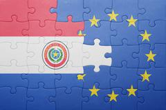 puzzle with the national flag of paraguay and european union - stock photo