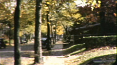 Autumn Leaves Falling Windy Day Fall Season Vintage Film Home Movie 8668 - stock footage