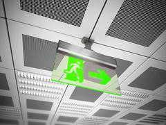 Exit sign hanging on suspended ceiling - stock illustration