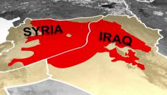 Map of Middle East showing spread of ISIS/ISIL/Daesh Stock Footage