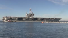 USA Virgina Norfolk, November 2015, Wide Shot Of Carrier USS Harry Truman Stock Footage