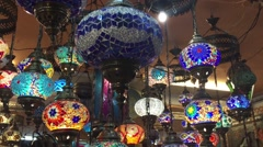 Colourful Arabic lamp shop Stock Footage