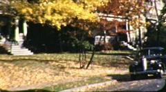 Autumn Leaves Fall Season Suburbs Car 1940s Windy Vintage Film Home Movie 8670 Stock Footage